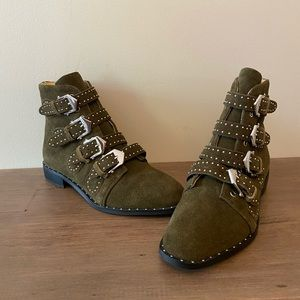 Shoes - Buckled Green Suede Booties